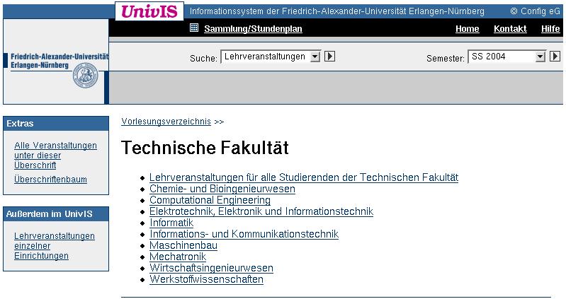 Vorlesungsverzeichnis Uni Erlangen