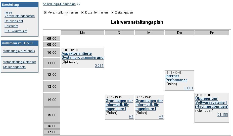 Vorlesungsverzeichnis Erlangen
